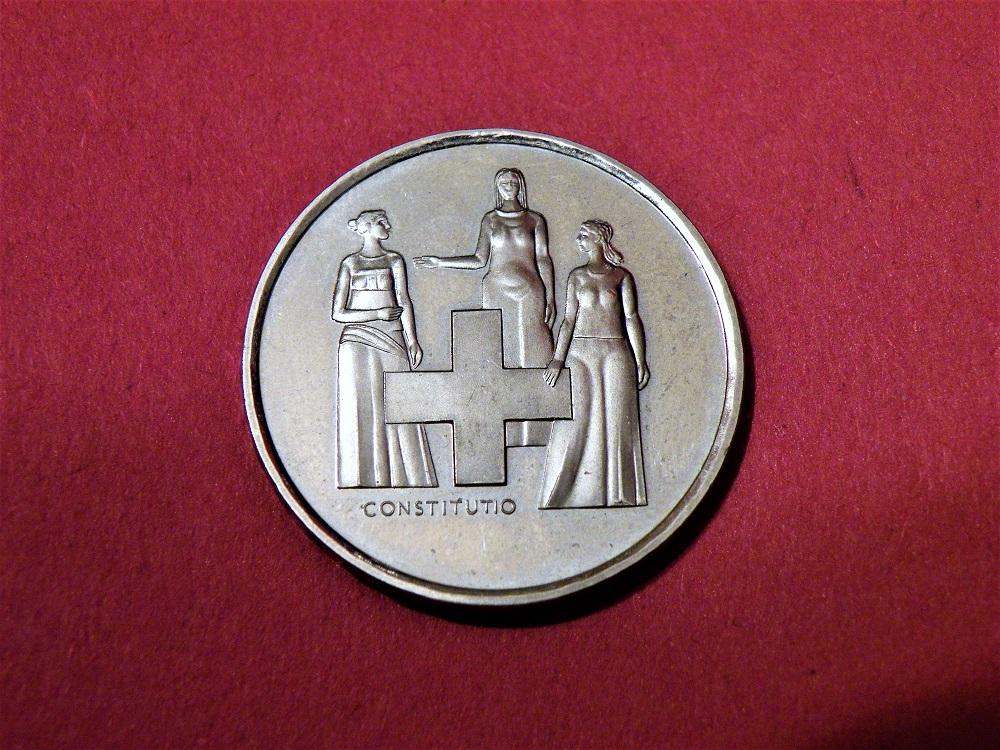Moderne Münzen 5 Franken Gedenkmünze 1974 Verfassungsrevision